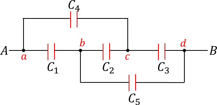 A circuit of combination of 5 capacitors