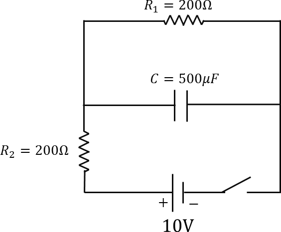 Circuit diagram of two resistors and a capacitor