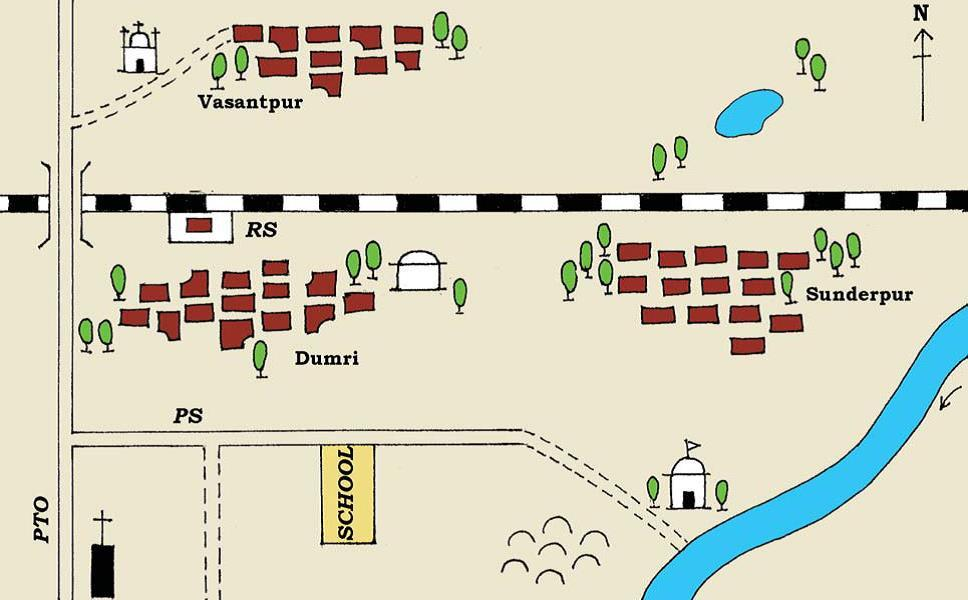 Sketch of Sunderpur village and its nearby places.