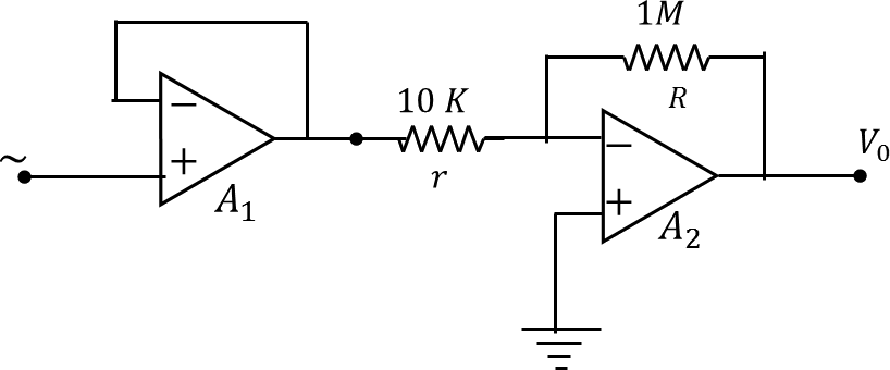 An amplifier circuit composed of two op – amps