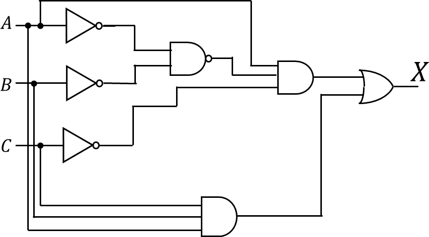 A logic circuit of three inputs