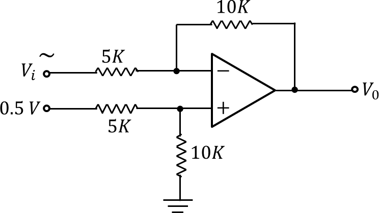 An op – amp circuit with two voltage source