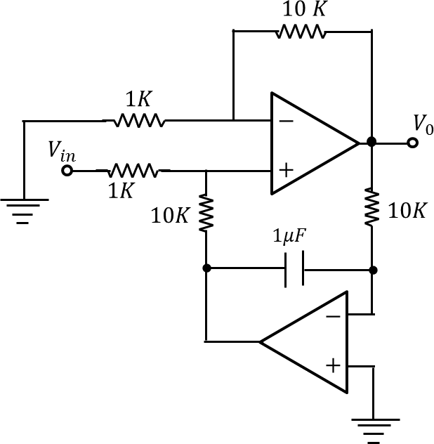 A circuit diagram of an Op – amp