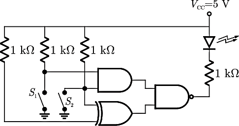 A combinational circuit using EX-OR, NAND, AND gates & LED