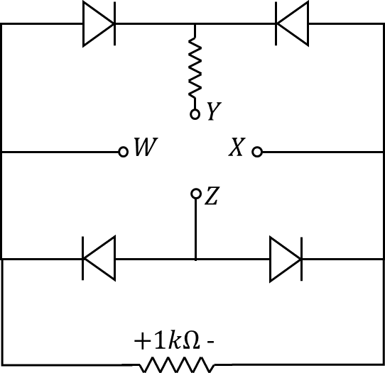 The circuit which has 4diodes connected in bridge configuration