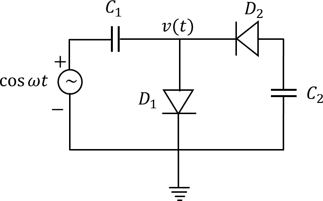 Image showing The circuit consists of ideal diodes & capacitors