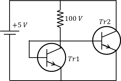 A circuit diagram consists of two transistors