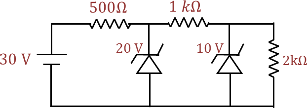 Circuit diagram of three resistance and two diodes.