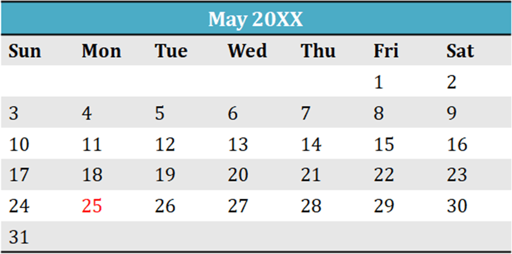 Image shows May 20XX calendar