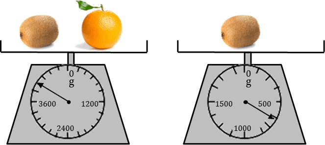 Image Of The Diagram shows weight of fruits