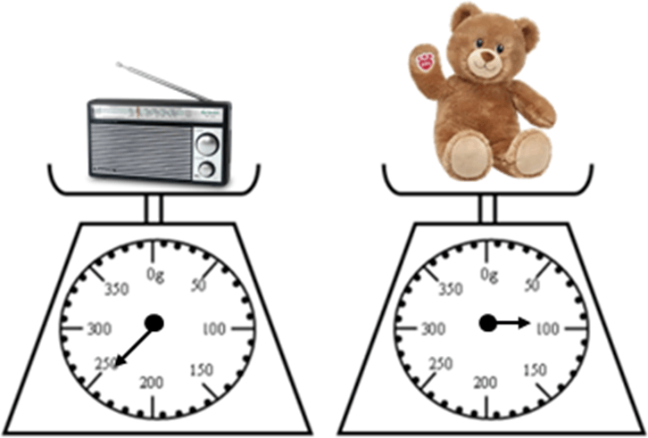 Figure shows the weight of teddy and radio
