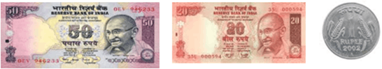 This image shows 50 and 20 rupees notes and coin