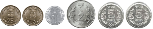 This image shows six coins