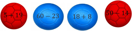 This figure shows addition in balls