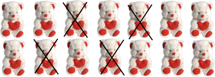 This picture shows the number of teddy
