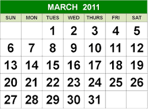 This image shows the calendar of March 2011