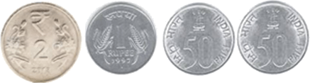 This set shows number of coins for Rs. 4 – Choice C