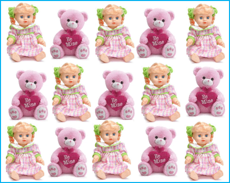 This image shows that some teddies and dolls