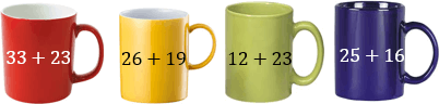 In this figure mugs have addition values