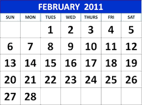This image shows the calendar of February 2011