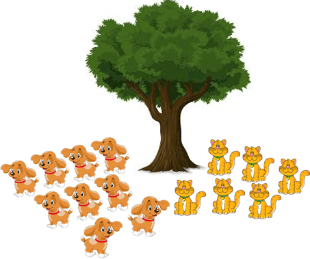 This image shows that the dogs and cats under the tree