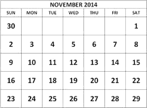 This figure shows the calender of November 2014