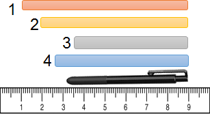 Diagram show the ruler with strips