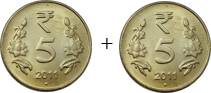 This coins show the addition between two coins – Choice C