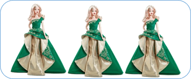 This figure shows green dress of dolls