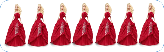 This figure shows red dress of dolls