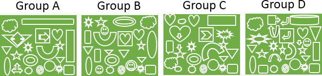 This image shown the four different shapes of groups