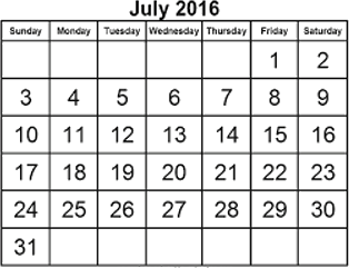 This figure shows the calender of July 2016