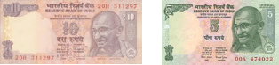 This image shows notes of Rs. 10 and 5