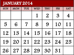 This image shows the calendar of January 2014