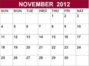 This image shows the calendar of November 2012