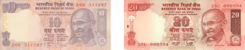 This image shows 10 and 20 rupees note