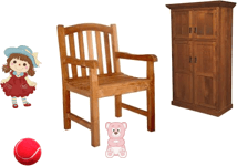 In this diagram show the chair, cupboard with toys