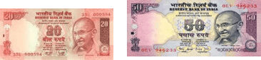 This image shows the 20 and 50 rupees note