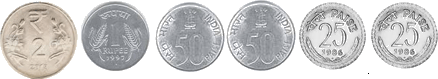 This set shows number of coins for Rs. 4 – Choice A