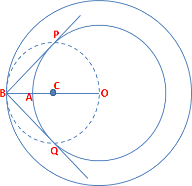Given the pair of tangents to a circle of radius 4 cm
