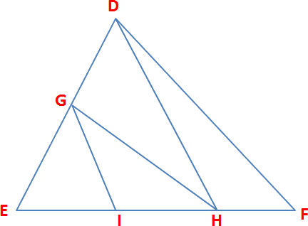 Given the triangle DEF and multiple lines are parallel
