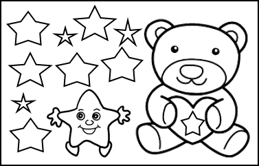 This image shows the teddy bear with stars