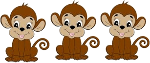 This image shows three monkeys