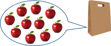 This image shows the bag in 10 apples