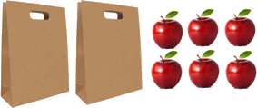 This image shows the bags in each has 10 apples – Choice B