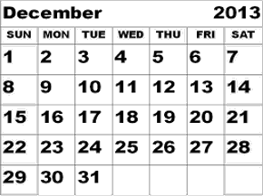 This image shows the December month calendar