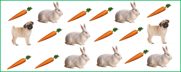 This figure shows the many rabbits, carrots and dogs
