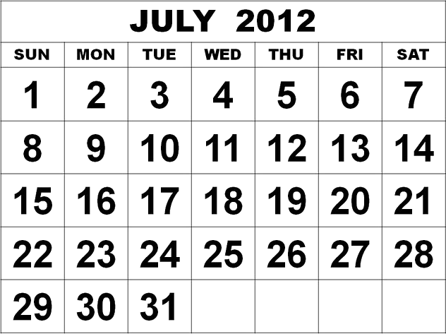 This image shows the calendar of July 2012