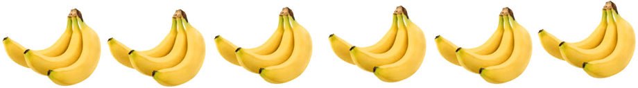 This image shows the 6 bunches of 3 bananas
