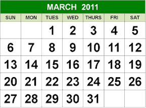 This image shows the March month calendar